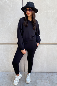 MARY Black Cropped Jumper