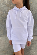 Load image into Gallery viewer, Mini ROME White Hooded Cropped Cycling Shorts Co-Ord