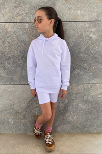 Mini ROME White Hooded Cropped Cycling Shorts Co-Ord
