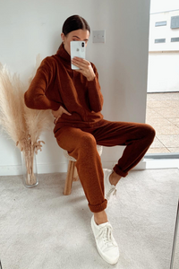 LAURA Rust Turtleneck Soft Knit Loungewear Set
