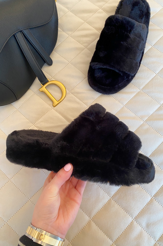 MILLIE Black faux Fur Slippers