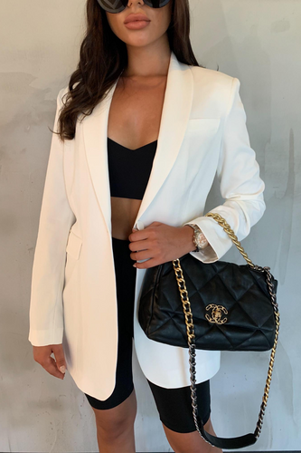 LOUIS Cream Pocket Detail Oversized Blazer