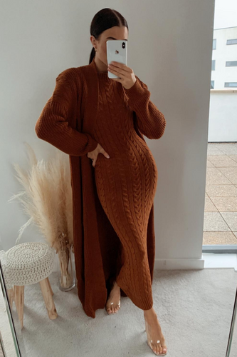 CARLA Rust Maxi Cardigan And Dress Knitted Set