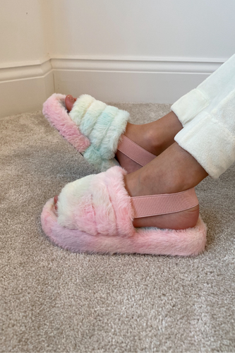 Mini AMARA Unicorn Faux Fur Strap Slippers
