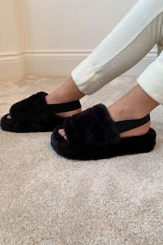 Mini AMARA Black Faux Fur Strap Slippers