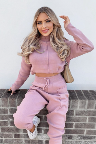 KELSEY Dusty Pink High Neck Fitted Loungewear Set