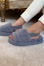 Load image into Gallery viewer, Mini AMARA Grey Faux Fur Strap Slippers