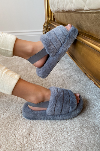 Mini AMARA Grey Faux Fur Strap Slippers