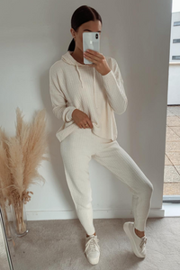 FRANKIE Cream Knitted Hooded Loungewear Set