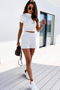 PARIS White High Neck Boxy Fit Short Co-ord