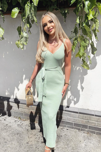 KYLIE Mint Knitted V Neck Belted Midi Dress