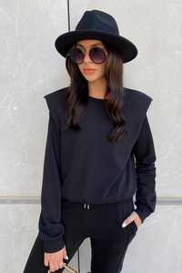 BETH Black Basic Shoulder Pad Jumper