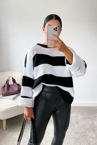 KARA Black and Cream Striped Jumper
