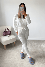 Load image into Gallery viewer, PASTELLE Cream High Neck Pin Stripe Loungewear Set
