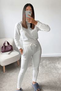 PASTELLE Cream High Neck Pin Stripe Loungewear Set