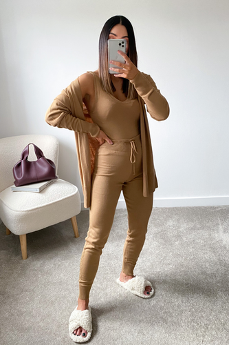 KIMMY Camel Knitted 3-piece Loungewear set