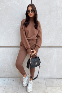 ADELLE Brown Roll Neck Jumper
