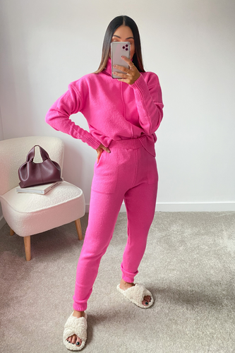 LAURA Fuchsia Turtleneck Soft Knit Loungewear Set
