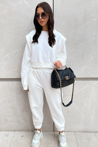 ELLA Cream Side detailing Jogger Set