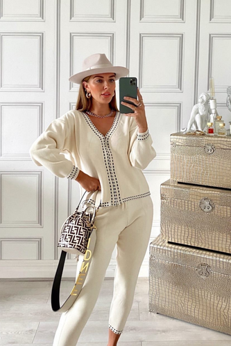 CELINE Cream Black Stitch Knitted Zip Front Loungewear Set