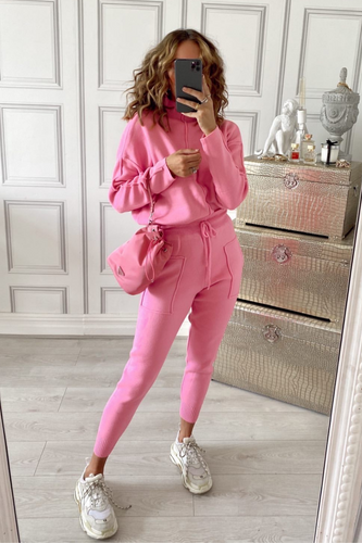 KELSEY Pink High Neck Fitted Lounge Set