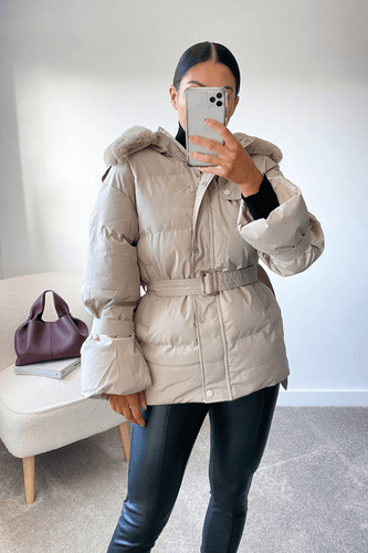 ANGELICA Stone Faux Fur Hood Belted Puffer Coat