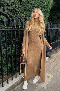CARLA Camel Maxi Cardigan And Dress Knitted Set