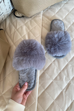 Load image into Gallery viewer, Mini MONICA Grey Faux Fur Sliders
