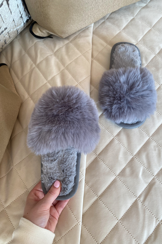 Mini MONICA Grey Faux Fur Sliders