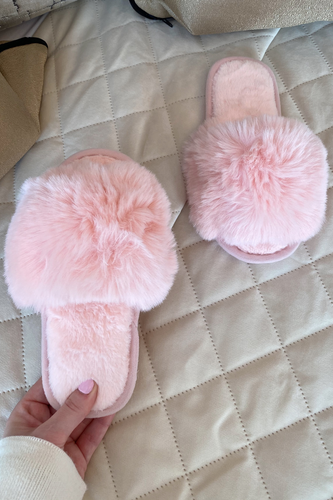 Mini MONICA Pink Faux Fur Sliders