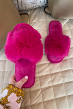 Load image into Gallery viewer, MONICA Fuchsia Faux Fur Sliders