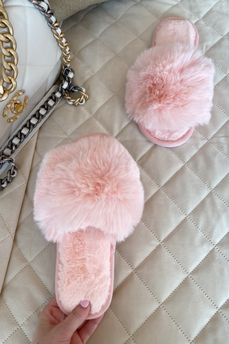MONICA Pink Faux Fur Sliders