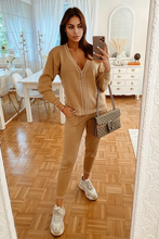 Load image into Gallery viewer, CELINE Camel Cream Stitch Knitted Zip Front Loungewear Set