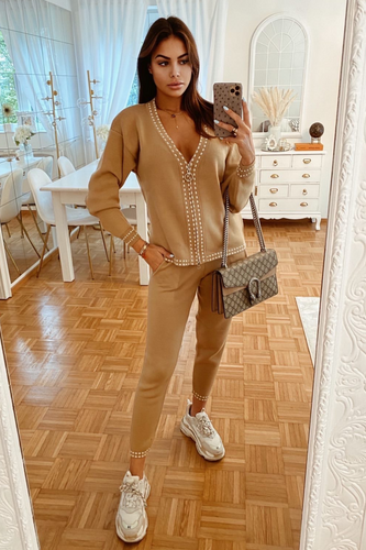 CELINE Camel Cream Stitch Knitted Zip Front Loungewear Set