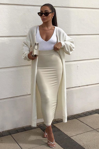 HOLLIE Cream Knitted Maxi Cardigan