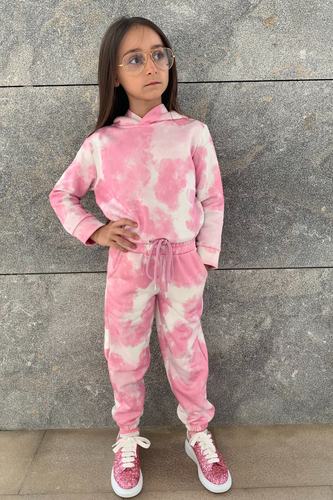 Mini MAISEY Pink Tie Dye Hooded Lounge Set