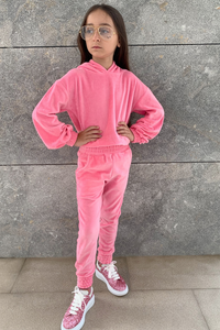 Mini SUGAR Pink Toweling Hooded Loungewear Set