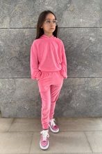 Load image into Gallery viewer, Mini SUGAR Pink Toweling Hooded Loungewear Set