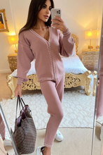 Load image into Gallery viewer, CELINE Blush Pink Cream Stitch Knitted Zip Front Loungewear Set