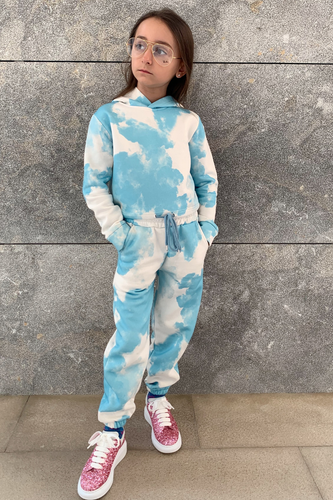Mini MAISEY Blue Tie Dye Hooded Lounge Set