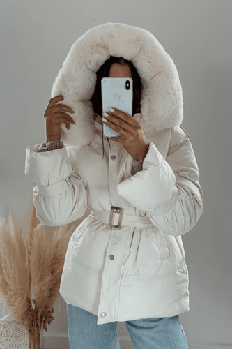 ANGELICA Cream Faux Fur Hood Belted Puffer Coat