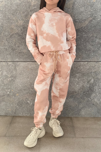 Mini MAISEY Camel Tie Dye Hooded Lounge Set