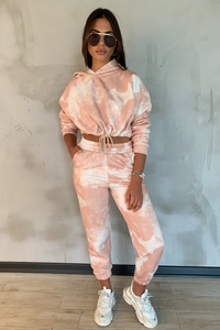 MAISEY Camel Tie Dye Hooded Lounge Set