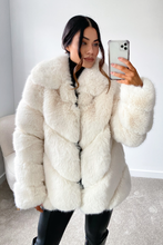 Load image into Gallery viewer, NAOMI Cream Five Ring Faux Fur Coat