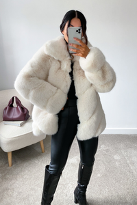 NAOMI Cream Five Ring Faux Fur Coat