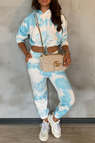 MAISEY Blue Tie Dye Hooded Lounge Set