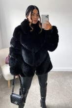 Load image into Gallery viewer, NAOMI Black Five Ring Faux Fur Coat