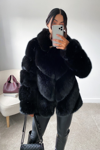 NAOMI Black Five Ring Faux Fur Coat