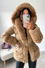 Load image into Gallery viewer, DANIELLA Camel Faux Fur Puffer Coat