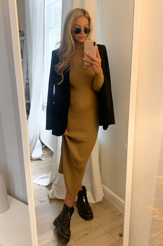 SHONI Camel Turtle Neck Long Sleeve Ribbed Maxi Dress